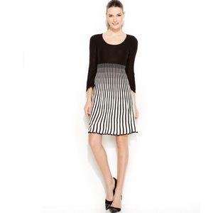 Women's Black Striped Ombre Sweater Dress